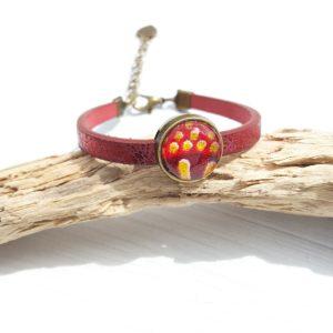 Bracelet tissu wax, bracelet simili cuir, bracelet bronze, bracelet rouge, bracelet africain, simili cuir rouge, bracelet paillette, bijou tissu, bijou paillette, bijou femme, bijou simili cuir, bijou wax, bracelet noël